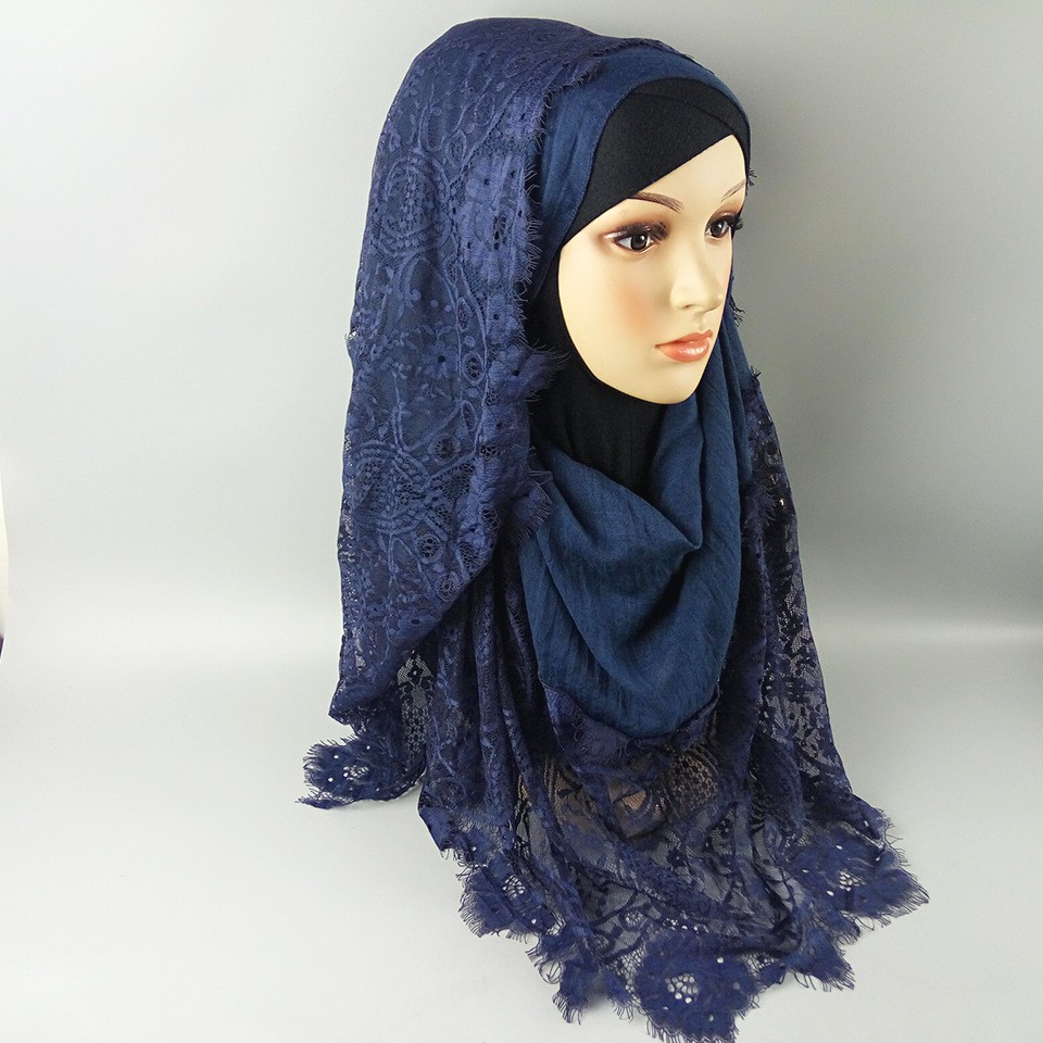2017 new design polyester with cotton fashionable lace ladies muslim girls hijab islamic scarf