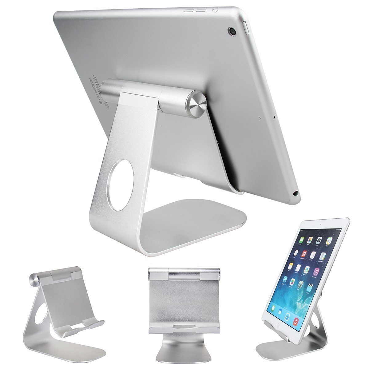 Tablet Holder Stand, KuGi ® High quality Multi-Angle Aluminum Stand for iPad Pro 9.7, iPad Mini, iPad Air 2 / 1,and Samsung Tab A 7.0 / 10.1, nexus, lenovo, asus etc. 7 to 12 inch Tablets.