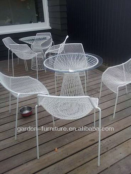 Metal Outdoor Beach Wire Furniture Set Glass Top Wrought Iron Table ...