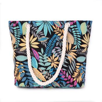 The new han edition tide beach bag leaves women canvas bag printing and fresh cotton rope hand
