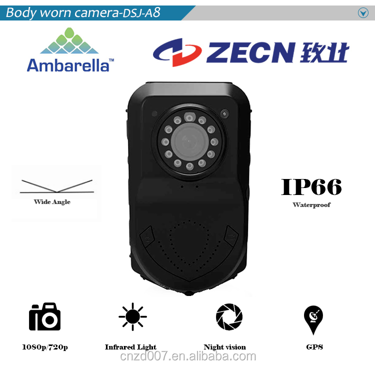 Built-in GPS full hd IP66 police body worn hidden camera digital for law enforcement