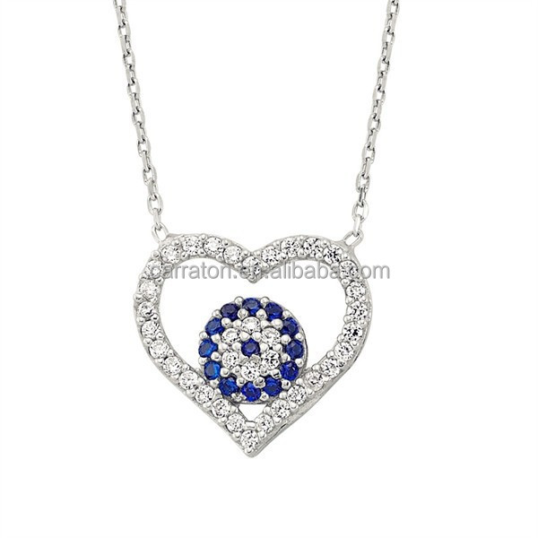 turkish jewelry 925 sterling silver micro pave zircon evil eye heart necklace