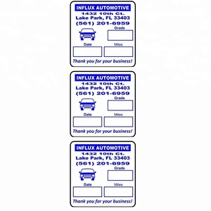 50pcs Oil Change Service Reminder car dashboard parts labels