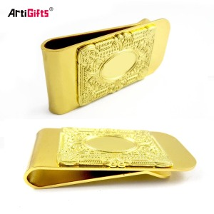 Gold Plated Bronze Card Holder & Money Clip Credit Card Holder