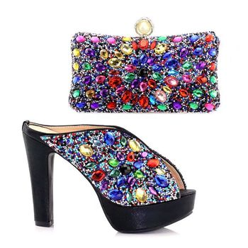 New arrival African Shoes And Bags Set Women Heels Matching Purse for  wedding e1070727575a