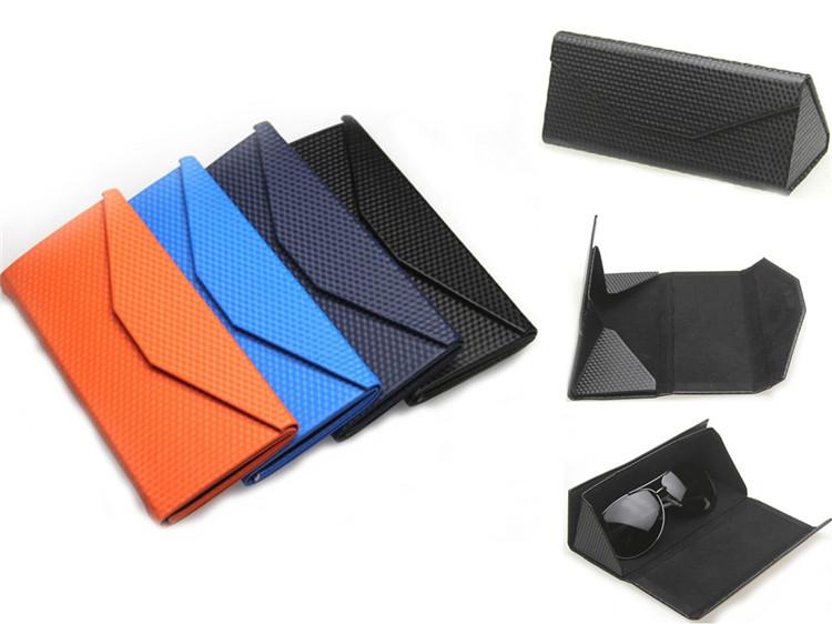 f652919e8c1 Buy Black Sky Blue Orange Metal PU Leather Triangular Folded Case For Glasses  Eyeglass Sunglasses Portable Sun Glasses Box 10Pcs Lot in Cheap Price on ...