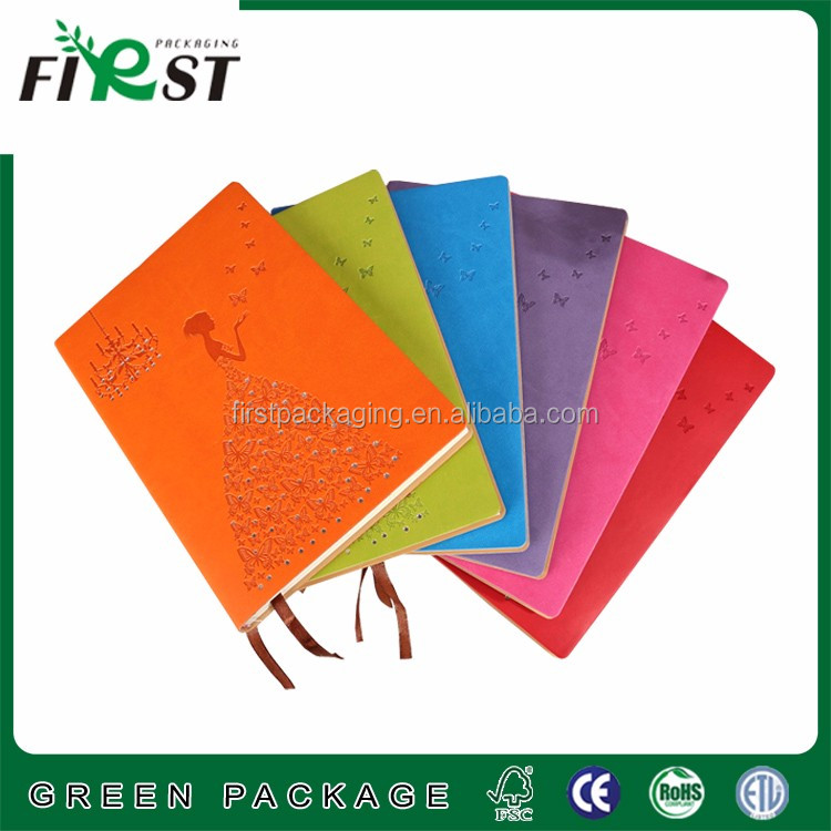 4C printing CYMK color hard cover recycled notebooks with ribbon bookmark in high quality cheap price