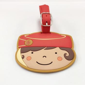 Wholesale high quality character luggage tag soft pvc luggage tag