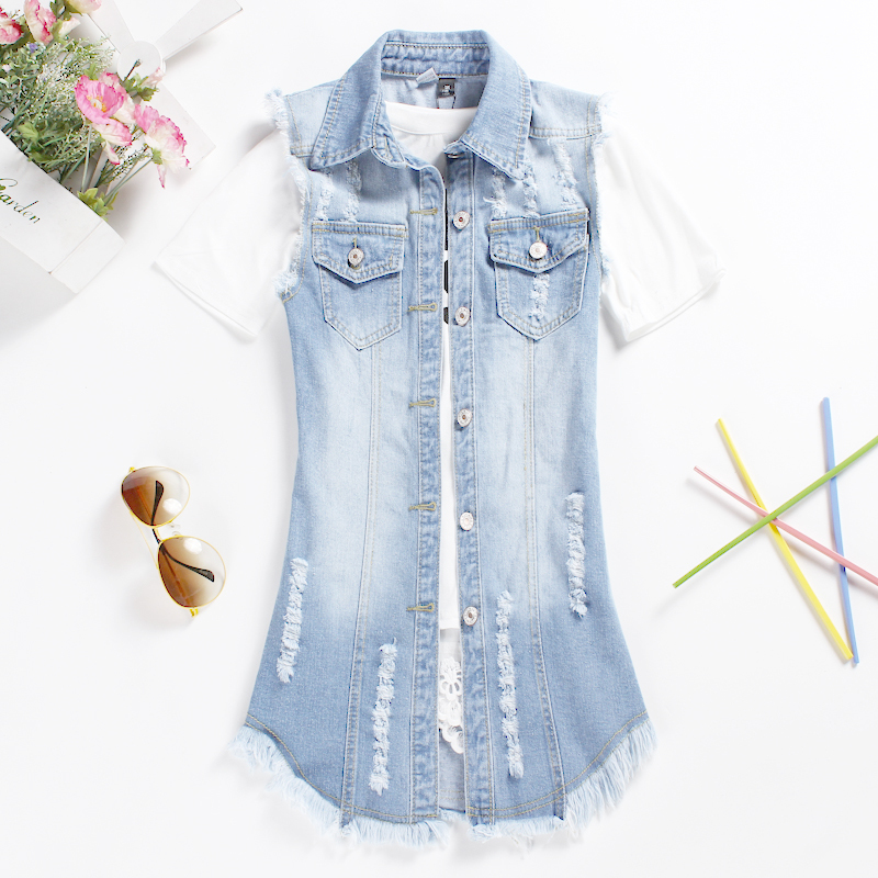 Summer Styel 5XL Plus Size Women Denim Vest Jacket 2015 Medium-Long Blue Frazzle Tassel Vest Vintage Hole Denim Outerwear 51130