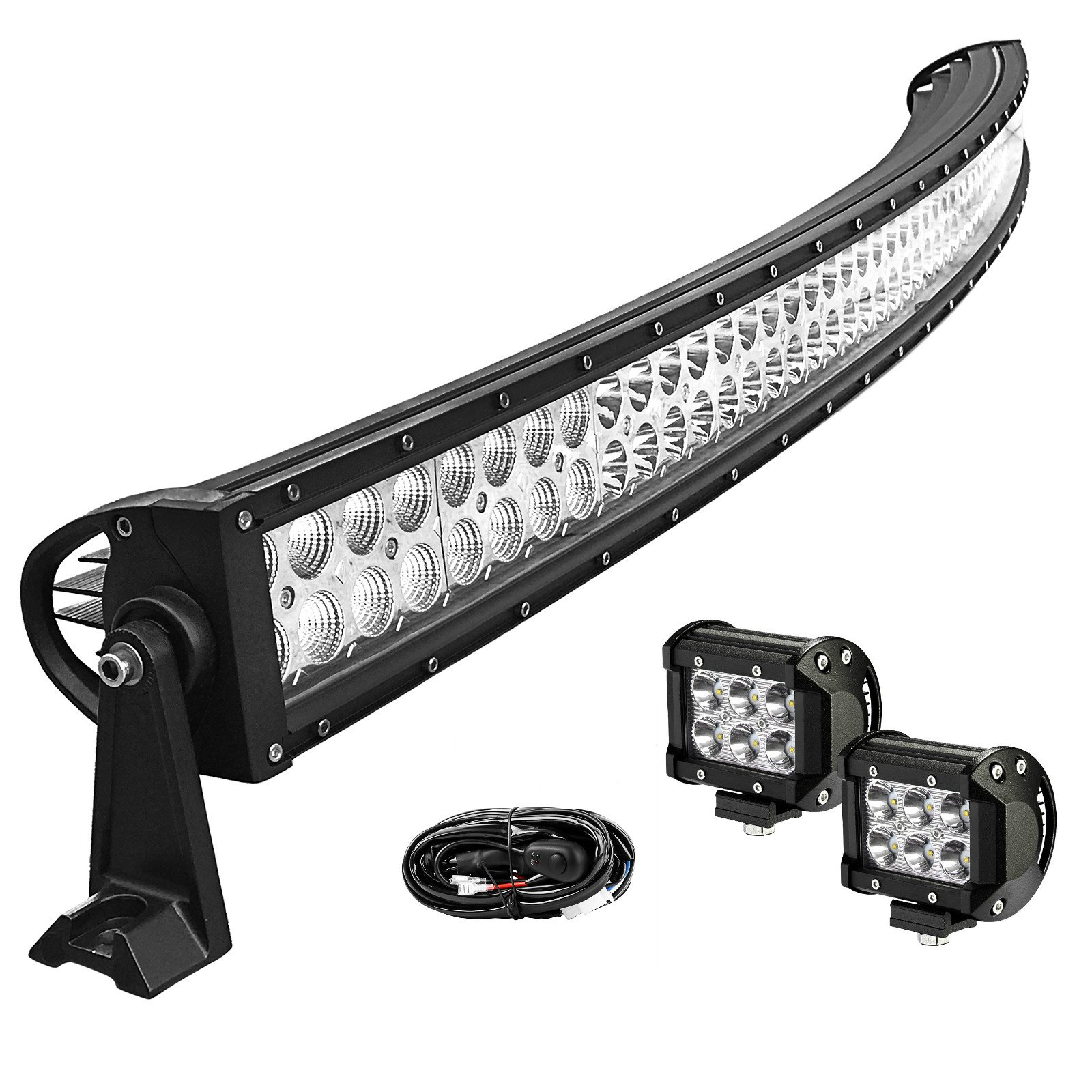 LED Light Bar YITAMOTOR Curved 52 Inch Light Bar Combo + 2 PCS 18W LED Flood Pod Lights with 12V Switch on/off Wiring Harness for ATV Boat Jeep Car Truck SUV 4x4 4WD, IP67 Waterproof 3 Years Warranty