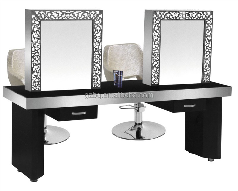 Barber shop new beauty hair salon double standing mirror for Salon table and mirror