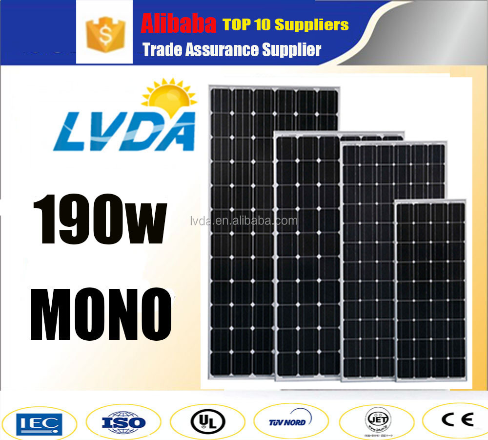 2016 hot selling solar products Good quality best price 190w/200w mono solar panel price for india market