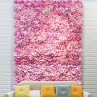 Artificial Floral Flower Wall Panel Wedding Venue Backdrop Pink Color Roll Up Flower Wall Backdrop 3D Effect Wall