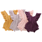 wholesale organic knitted newborn clothing baby girl romper ruffle jumpsuit clothes sleeveless 100% cotton fabric baby romper