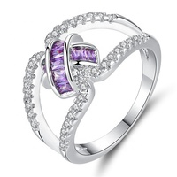 Newest Style Purple Crystal Fashion Jewelry Women Hollow Ring