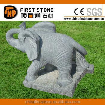 GAB572 Cyan Stone Elephant Garden Statues
