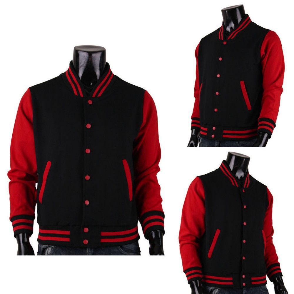 Men's Varsity Jacket Baseball Jacket Black-red Cotton Letterman ...