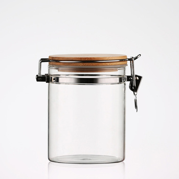 Home Goods Square Glass Spice Jar With Airtight Clear Storage Jars