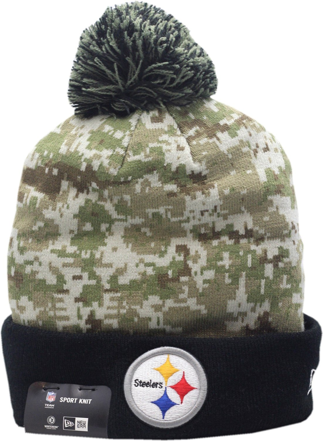 5264e3538ce Pittsburgh Steelers New Era 2015 Salute To Service On-Field Pom Knit Hat -10371