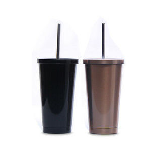 16oz Vacuum Travel Coffee Mug with Lid Straw,double wall color painting straw tumbler,Tea Cup Thermos Flask Water Bottle