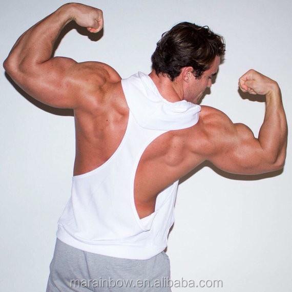 e9b7c657d Men's Dry fit Polyester Racerback Muscle Hoodie Stringer Tank Top Deep Cut  Gym Stringer Hoodie Sleeveless