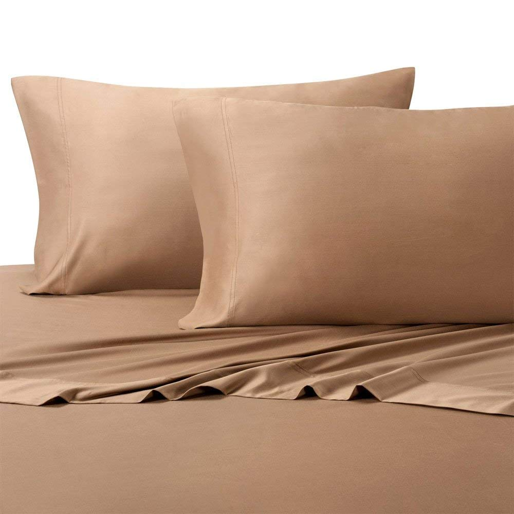 Royal Hotel Top-Split King: Adjustable Split Top King Taupe Silky Soft Bed Sheets 100% Bamboo Viscose Sheet Set