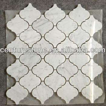 Lantern Polished Honed Carrara White Arabesque Marble Tiles