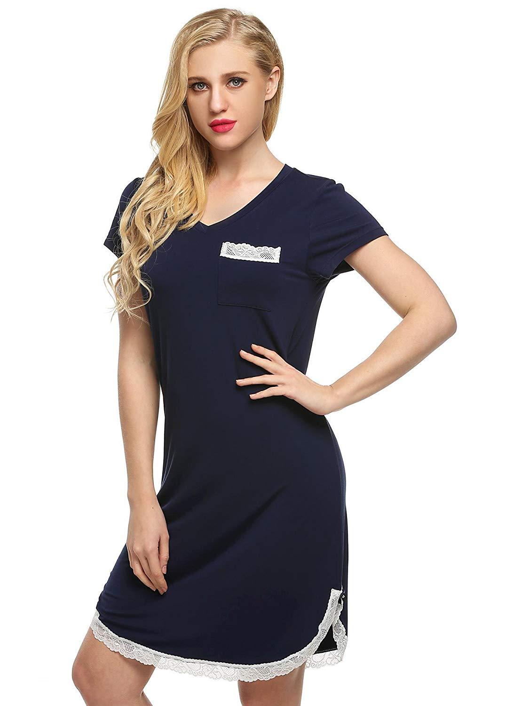 Get Quotations · Zouvo Cotton Nightshirt Short Nightshirts for Women Womens  Short Sleeve Nightshirt Nightgowns   Sleepshirts 326b8f80e