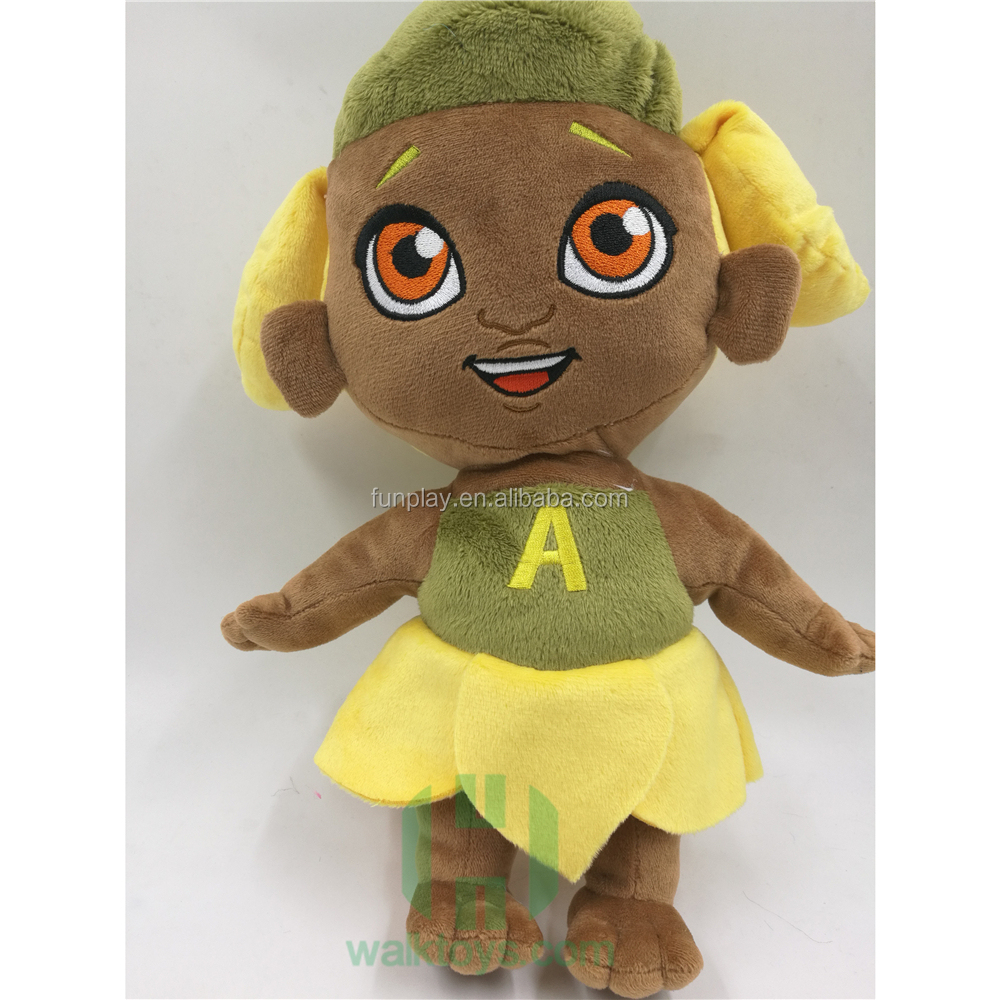 HI wholesale soft plush stuffed toy manufacture animal custom Afric little girl plush toy with embroidery logo for gifts