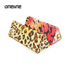Excellent quality pretty protective leopard optical folding reading glasses case for sunglasses