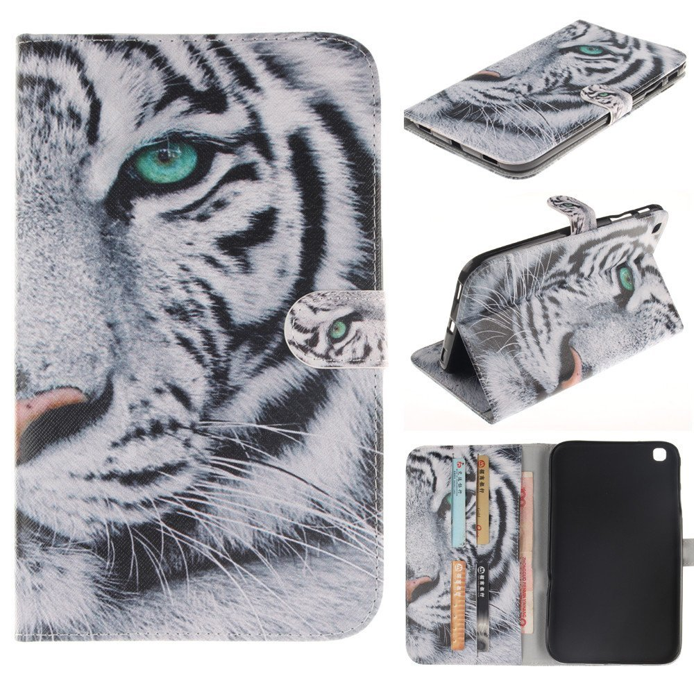 Galaxy TAB 4 8.0 Case,T330 Case,IVY [Kickstand Feature][Card Slot][Cash Pockets][Magnetic Buckle][White Tiger] Premium PU Leather Wallet Flip Case For Samsung Galaxy Tab 4 SM-T330 8.0 Inch