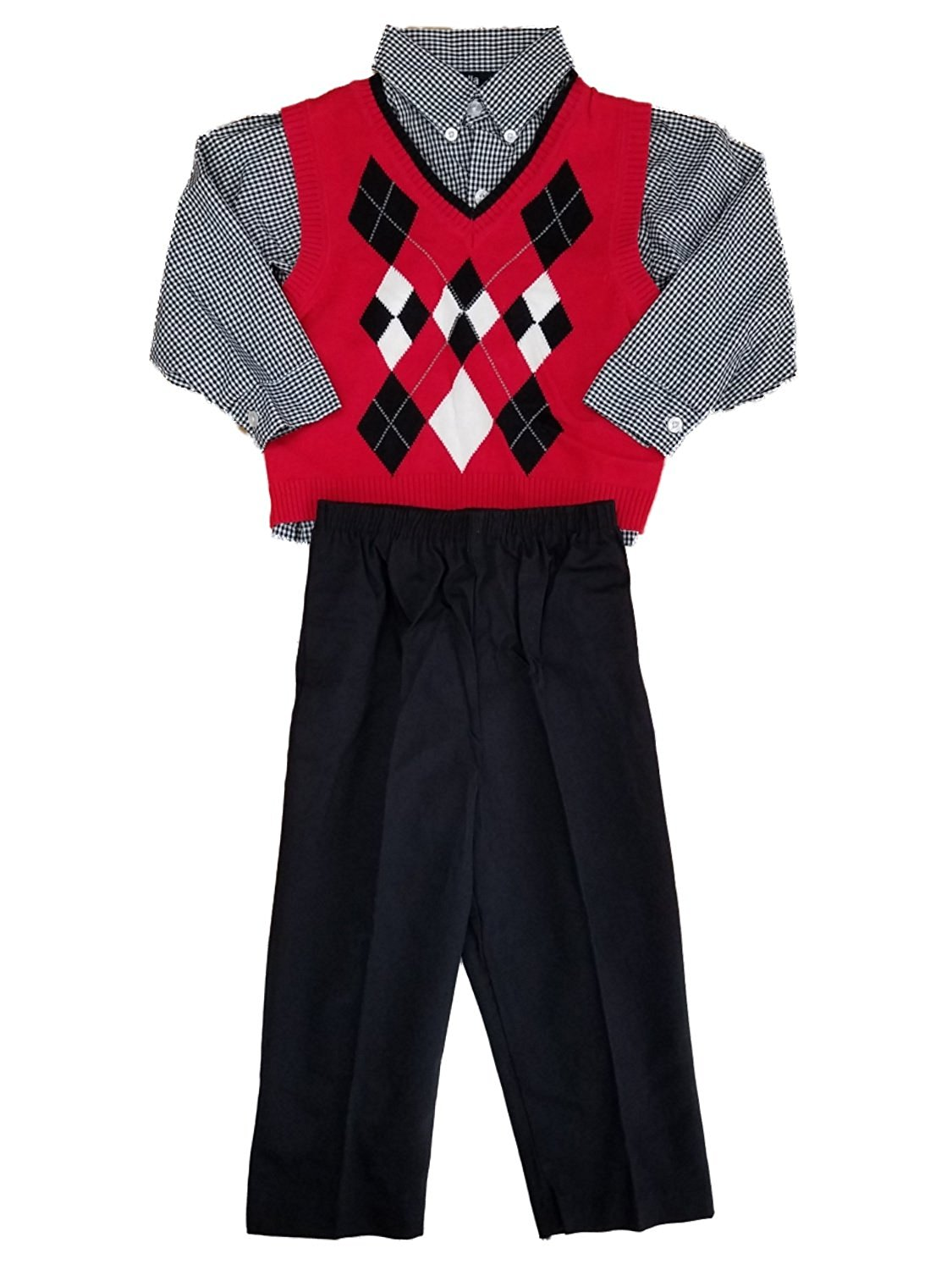 954e7c75a Get Quotations · Happy Fella Toddler Boys 3pc Red Black & White Argyle Sweater  Vest Plaid Shirt & Pant