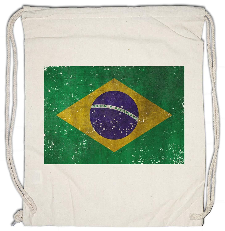 BRAZIL FLAG VINTAGE LOGO Drawstring Bag Brasil Brasilien Banner Fahne Flagge WM Retro