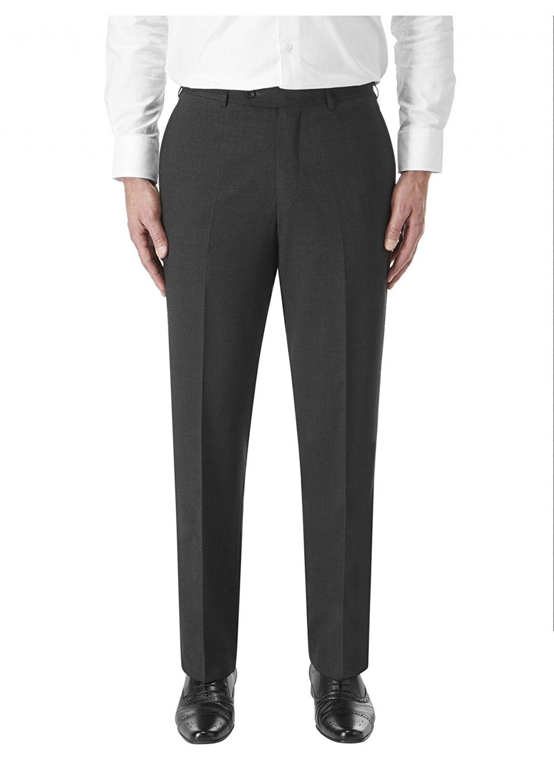 SKOPES Wool Rich Darwin Charcoal Suit Trouser in Waist 30 to 60, S/R/L