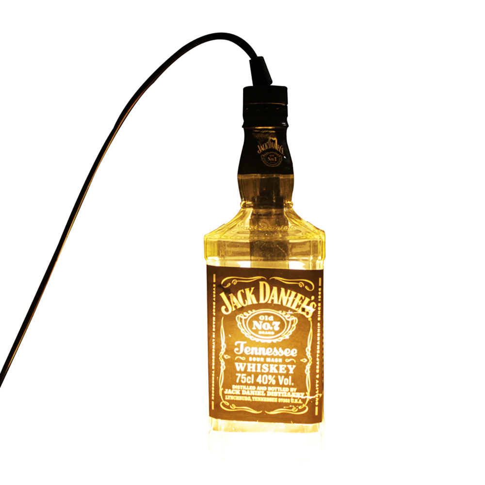 led pendentif lampe transparente jack daniels alcools bouteille suspendus clairage pour salon. Black Bedroom Furniture Sets. Home Design Ideas