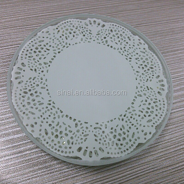 Factory Wholesale Popular Lace Exquisite Glass Coaster