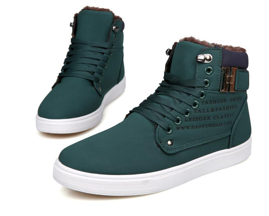 2015 Men's fashion spring and autumn and winter leather high-top shoes, canvas shoes, men's casual shoes tide Korean version
