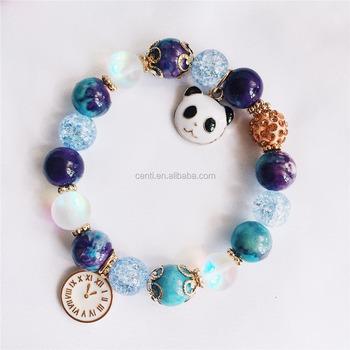 Enamel Clock Panda Charm Natural Stone Bracelet Frost Crystal Bead