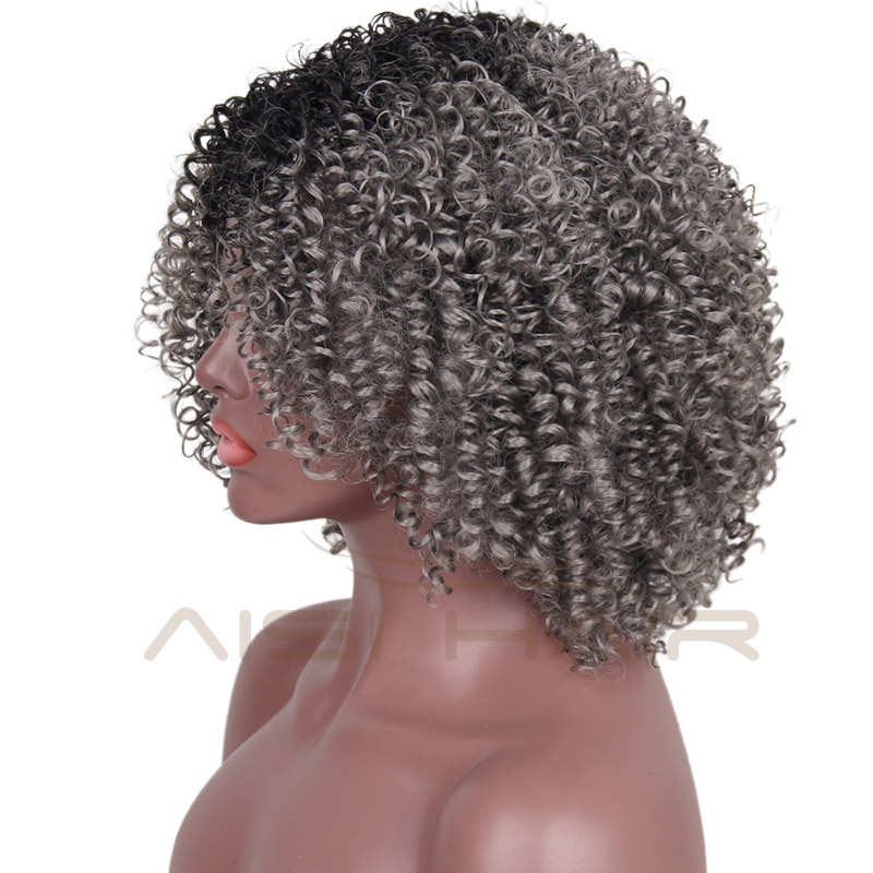 Aisi Hair The Best Selling Short Kinky Curly Wig Synthetic Ombre Grey Hair Wigs For Black Women Heat Resistant Fiber