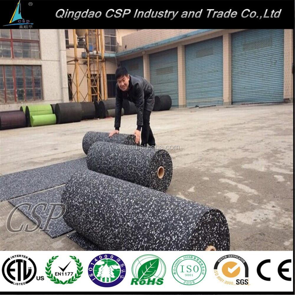Populaire isolation acoustique caoutchouc recycl rouleau tapis gym tapis de sol rev tements Tapis de caoutchouc recycle