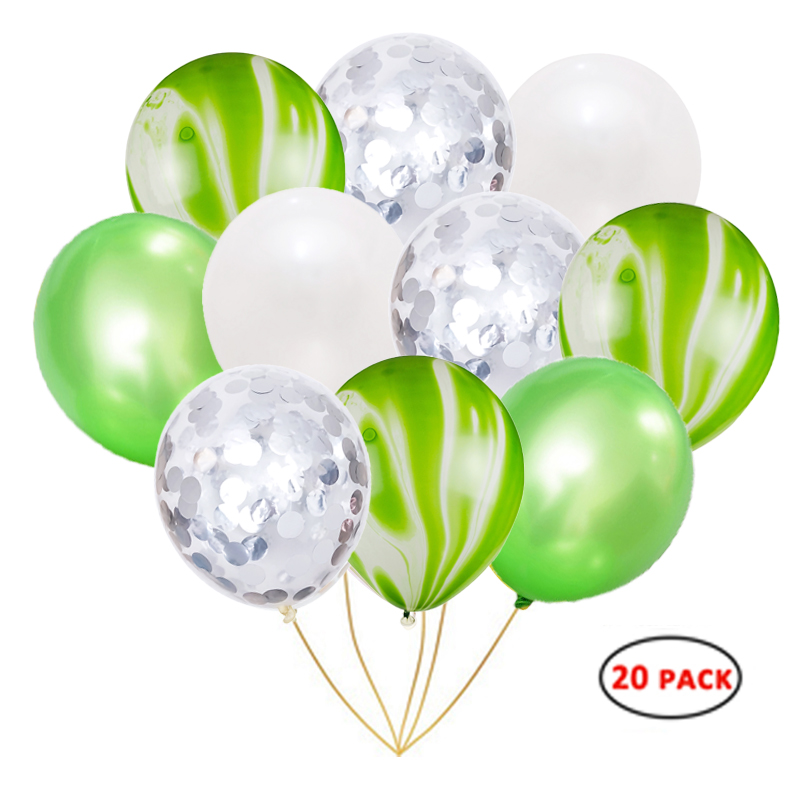 12inch green marble cloudy latex balloons with party decoration confetti balloons set