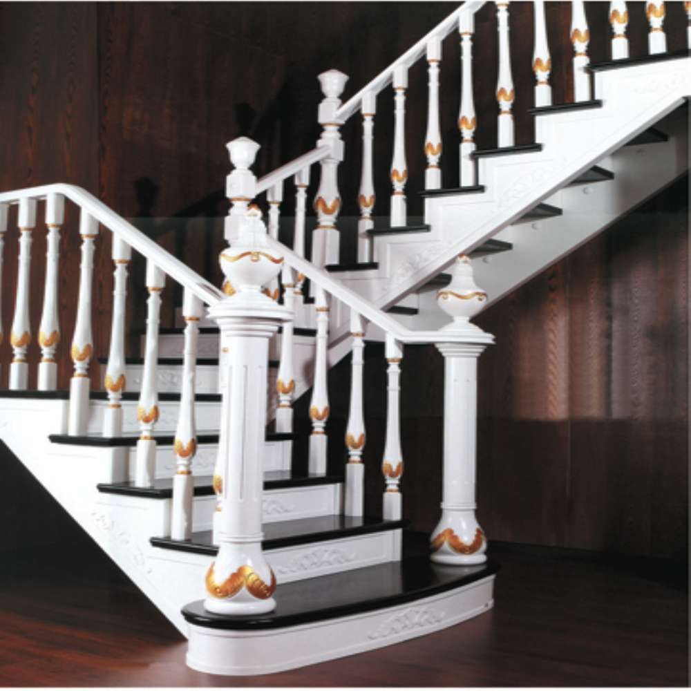 OEM Available Various Style Indoor Staircase with Step and Riser , Wood Baluster Handrail Railing