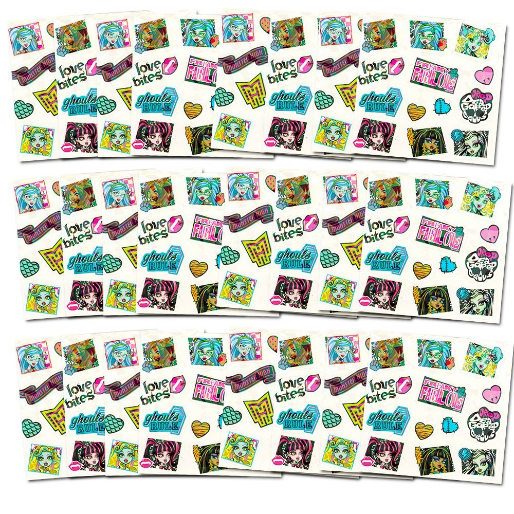 Monster High Stickers Party Supplies Pack -- Over 300 Stickers (24 Party Favors Sheets)