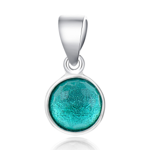 POLIVA Sterling Silver Birthstone Single Flower Dome-cut Emerald-hued Royal Green Crystal May Droplet Pendant