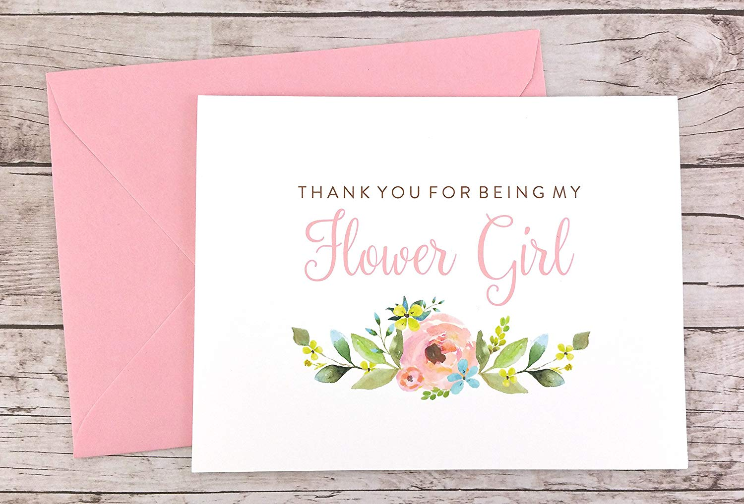 Thank You For Being My Flower Girl Card, Wedding Card, Flower Girl Thank You Card (FPS0013)