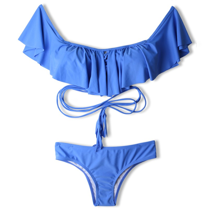 New Sexy Off Shoulder Ruffled Bandeau Thong Biquini Strappy Swimsuit Swim Wear Bathing Suit Swimwear Women Brazilian Bikini