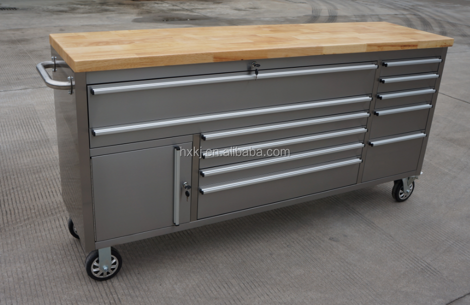 thor new 72inch 15 drawer stainless steel rolling workbench tool trolley with upper cabinetd - Rolling Workbench