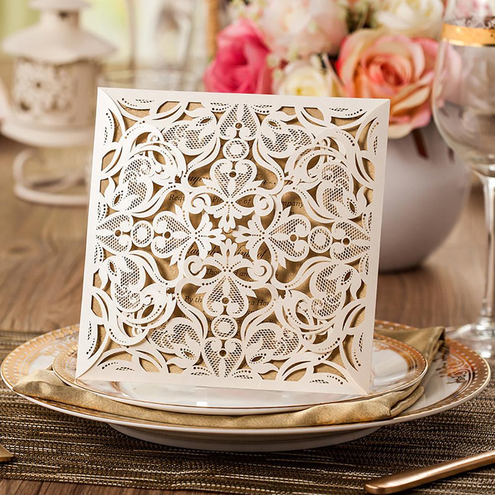 Wedding Invitations Laser Cut Paper: 70Pcs Design Rustic Lace Wedding Invitations Set Laser Cut