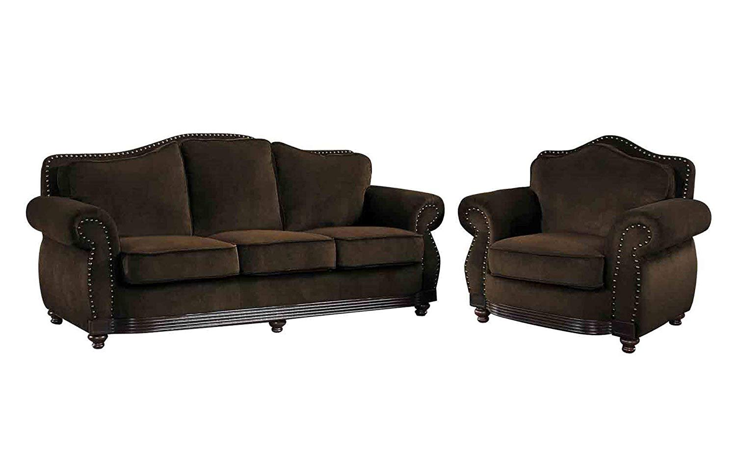 Get Quotations Martini Nail Trim 2pc Set Sofa Chair In Dark Brown Leather