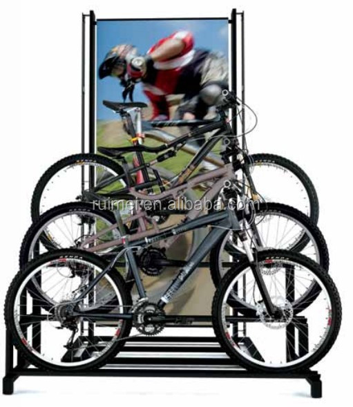 Durable 3 Tiers Free-standing Stainless Steel Bike Hanger